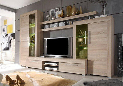 wohnwand eiche saegerau hell woody 93 00097 eur 569 00 picclick de. Black Bedroom Furniture Sets. Home Design Ideas