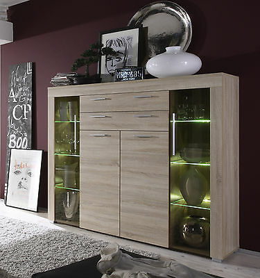 highboard eiche s gerau led vitrine anrichte wohnzimmer vitrinenschrank kommode eur 422 10. Black Bedroom Furniture Sets. Home Design Ideas