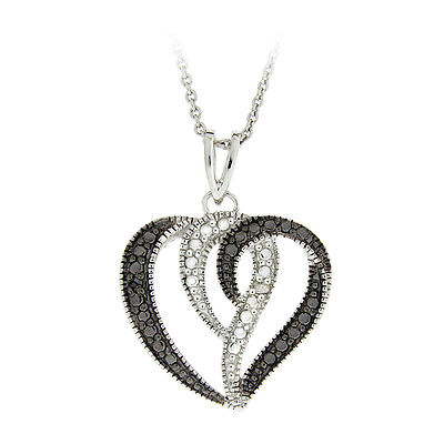 925 Sterling Silver Treated Black & White Diamond Accents Heart Swirl Necklace