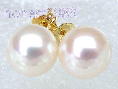 Extremely luxurious 9mm AAA+++ round white akoya pearls earring 14k yellow gold