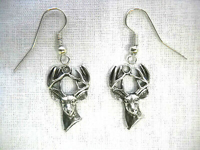 New Pewter Whitetail 10 Point Buck Trophy Deer Wildlife Dangling Charm Earrings