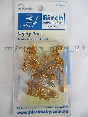 Safety Pins X 5 Packets Of Jewel Midget Brass X 25 Assorted