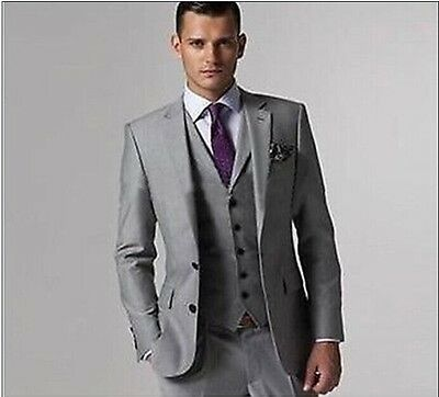 Hot Light Grey Two Button Notch Lapel Groom Tuxedos Bridegroom Best Man Suit