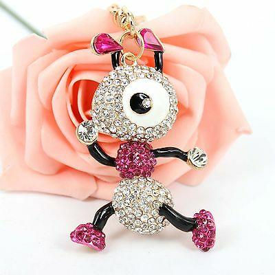 Ants Insect Lovely Cute Crystal Rhinestone Charm Pendant Purse Bag Key Chain Gif