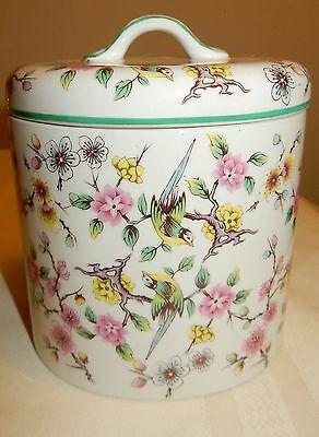"""James Kent Staffordshire Old Foley England  Chinese Rose 6"""" Canister with Lid"""