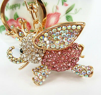 Fly Elephant Princess Crown Lovely Pendent Crystal Purse Bag Keyring Key Chain