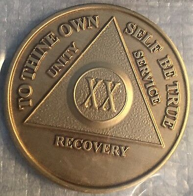 Alcoholics Anonymous 20 Year Recovery Coin Chip Medallion Medal Token AA Bronze