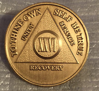 Alcoholics Anonymous 26 Year Recovery Coin Chip Medallion Medal Token AA Bronze