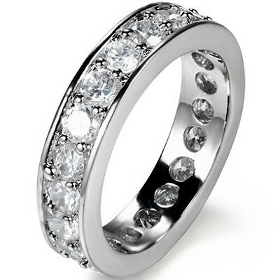 SZ 6 7 8 9 Silver Ring Wedding Engagement CZ Valentines Day Propose Birthday