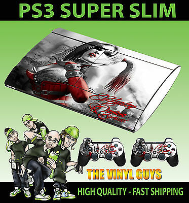 Playstation Ps3 Super Slim Harley Quinn Gotham Girl Skin Sticker + 2 X Pad Skins