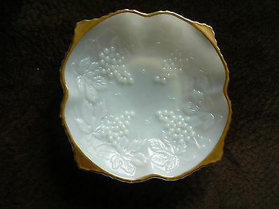 Beautiful Opal Glass Low Compote/ Gold Trim
