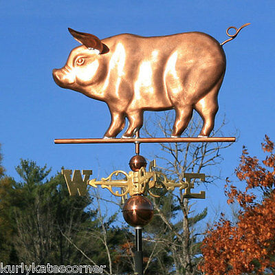 """Copper """"Pig"""" Weathervane W/Scrolled Directionals #156"""