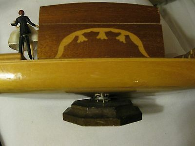Musical Jewelry Box - Boat- Carved Inlays, Turns With Music, and Dancing Couple