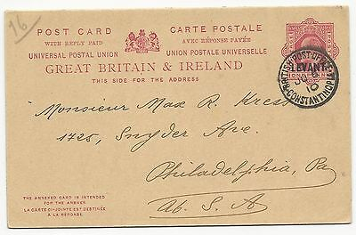 Great Britain H&G #30 Postal Card Constantinople Cancel June 6, 1910