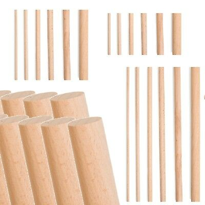 Natural Wooden Dowels Wood Craft Sticks 4mm to 20mm Thick, 10cm, 15cm, 30cm Long