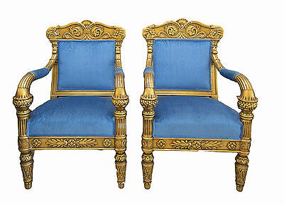 Matching Pair of Handmade Antique Gilded Armchairs in George IV style