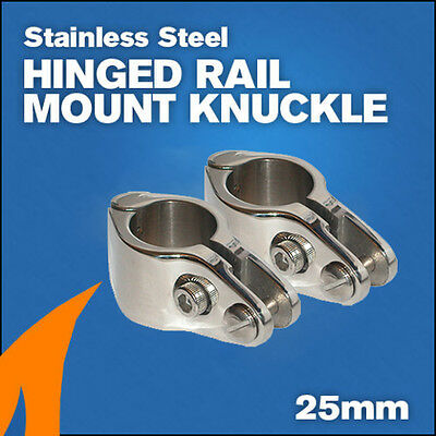2 X Bimini Hinged Rail Mount Knuckle 25mm boat canopy stainless steel 316