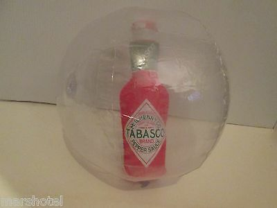 """McILHENNY CO TABASCO HOT SAUCE INFLATABLE BLOW UP 12"""" BEACH BALL WITH BOTTLE"""