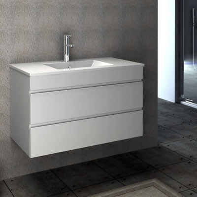 VELLENA 900mm BATHROOM WALL HUNG VANITY WHITE GLOSS POLY CERAMIC BASIN