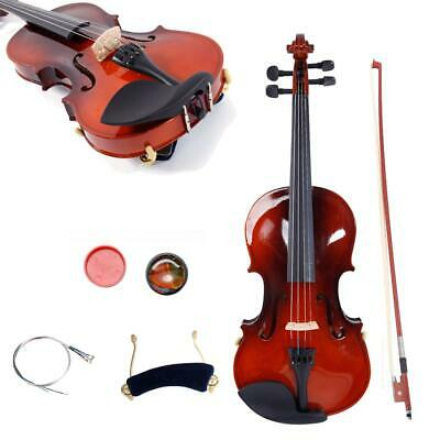 New 1/8 Size Basswood Natural Acoustic Violin Fiddle with Case Bow Rosin Set