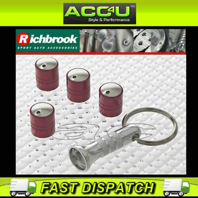 Richbrook Spinning Red Car Anti Theft Valve Dust Caps Set Of 4 + Free
