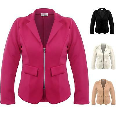 Ladies Plus Size Collared V Neck Zip Front Women's Smart Office Jacket Blazer