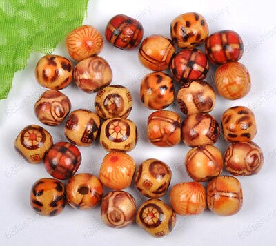100Pcs Mixed color 10MM Hand painted art Wood round loose beads DIY FINDINGS