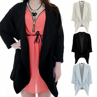 Ladies 3/4 Sleeve Open Front Textured Women's Smart Waterfall Cape Jacket