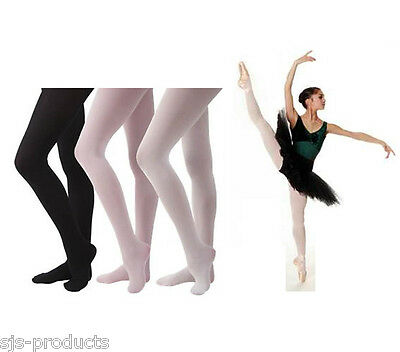 89ab12d1cbfb1 Girls Kids Childrens BALLET DANCE TIGHTS 60 DENIER Pink Black White 3-13 NEW
