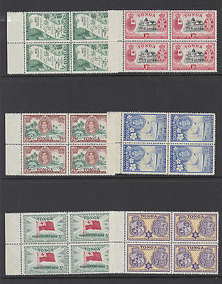 Tonga 1951 Treaty Set In Blocks Of Four Sg 95-100 Mnh.