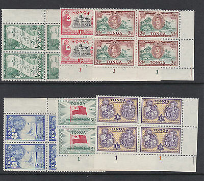 Tonga 1951 Treaty Set In Plate Blocks Of Four Sg 95-100 Mnh.