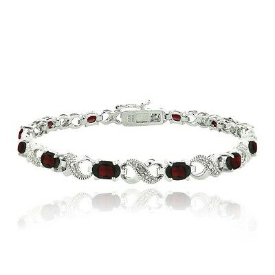 6.6ct Garnet & Diamond Accent Infinity Links Bracelet