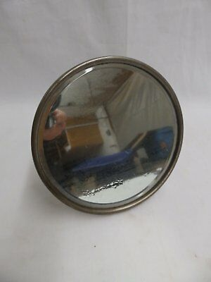 Antique Nickel Brass Articulating Shaving Round Beveled Mirror Old Vtg 4158-15