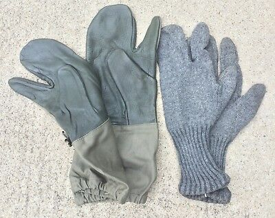 Army Military Surplus Previously Issued Pair of 3 Finger Gloves With Wool Liners