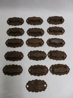Antique Set Of 15 Cast Iron Eastlake Bin Drawer Cabinet Door Pulls Old 4164-15