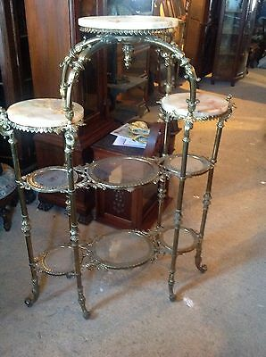 Wonderful Brass And Onyx Multi Tier Etegere Stand Victorian Aesthetic Movement