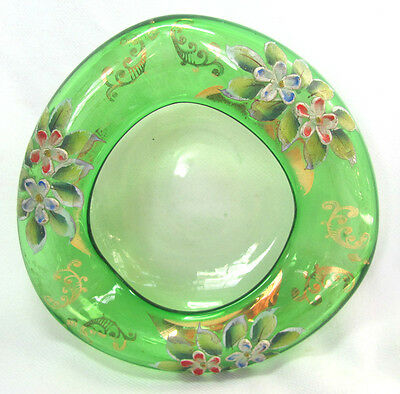Vintage Bohemian Czech Green Glass Ashtray Bowl Applied Flowers Gilt Trim Ground