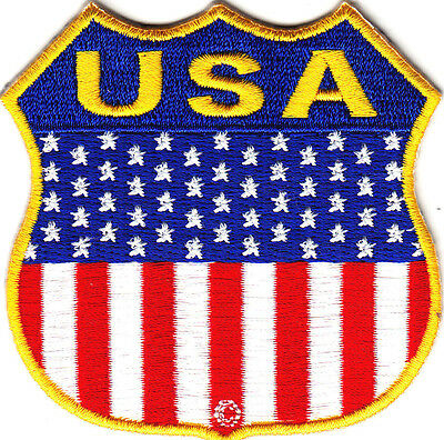 USA FLAG SHIELD, MOTORCYCLE, BIKER, VEST/Iron On Embroidered Patch .American