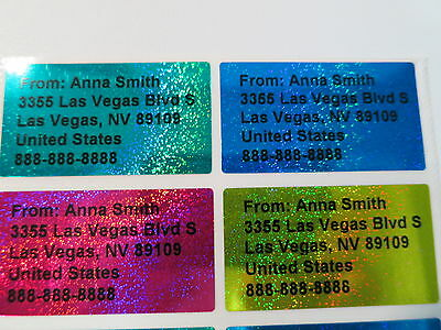 200 Sparkle Four Colors Personalized Waterproof Address Stickers 4.5 x 2.5 cm