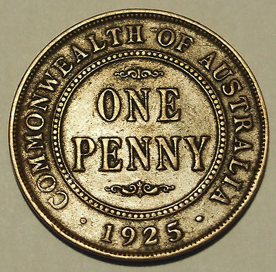 1925 Penny - King George V - approaching Very Fine Condition - Low Mintage