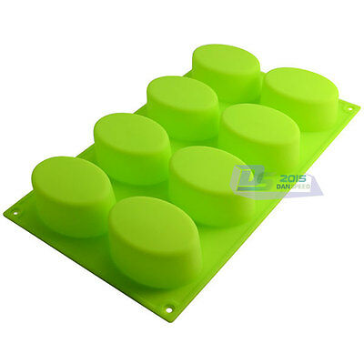 8-Oval Soap Mould Cake Chocolate Mold Cutter Silicone Baking Tools Craft DIY New