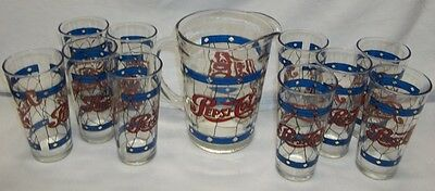 VTG PEPSI COLA 64 OZ. STAINED GLASS MOTIF PITCHER With 10 Glasses
