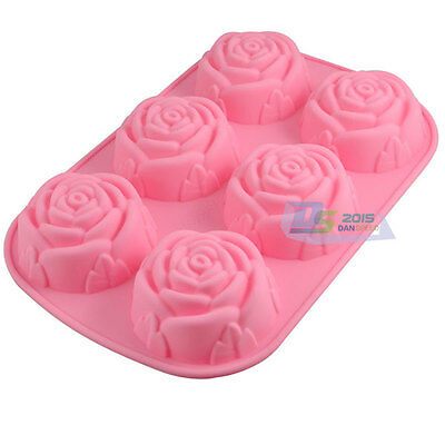 6 Cavities Rose Cake Candy Pudding Muffin Chocolate Silicone Mould Baking Tools