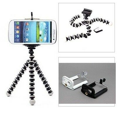 Mini Octopus Flexible Tripod Stand+Cell Phone Clip Bracket Holder iPhone Samsung