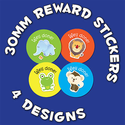 144 x 'Well Done' 30mm Children Reward Stickers - For School Teachers Or Parents