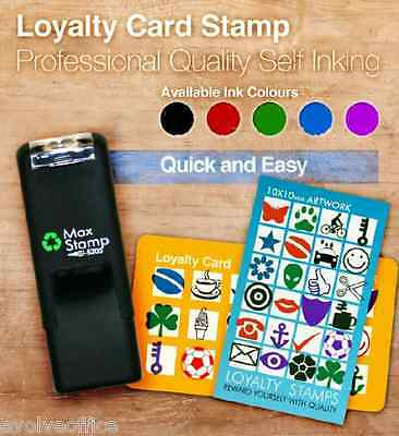 Loyalty Card Stamp with Key Ring & Extendable Cord - Self Inking 11x11mm 5205