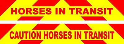 Horse Box Rear Chevron/ Caution Horses In Transit Reflective decal graphics