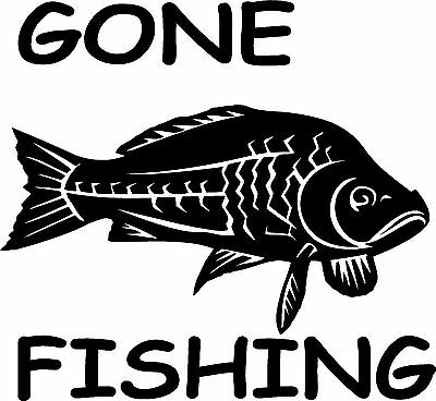 8'' Gone fishing carp sticker car/ van decal graphic / window /body panel