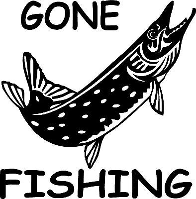 8'' Gone fishing Pike sticker car/ van decal graphic / window /body panel
