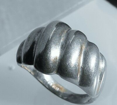 Size 7  Sterling silver 925 ornate fluted melon lines CELLINI  ring 4.9g   ip